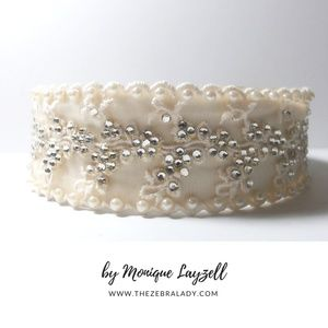 Accessories - Off White Satin Lace Crystals and Pearls Headband